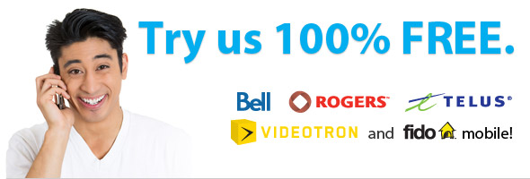 Try our service 100% FREE from your Bell, Rogers, Telus, Videotron home phone or Fido mobile